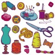 Sewing Kit Doodles - hand drawn design elements in vector — Stock Vector #12813011