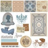 Conjunto de elementos de design scrapbook - realeza vintage - vetor — Vetorial Stock