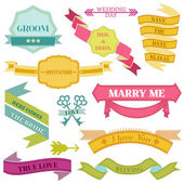 Wedding Vintage Frames, Ribbons and Design Elements - in vector — Stockvektor