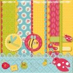Scrapbook Design Elements -Funny Baby Bugs - in vector — Stock Vector