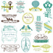 Stok Vektör: Wedding Vintage Invitation Collection - for design, scrapbook -