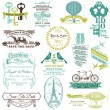Stock vektor: Wedding Vintage Invitation Collection - for design, scrapbook -