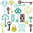 Royalty-Free Stock Vector Image: Collection of Antique Keys - for your design or scrapbook - in v