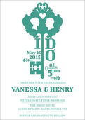 Carte d'invitation mariage - thème clé - vecteur — Vecteur