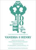 Tarjeta de invitación de boda - tema clave - vector — Vector de stock