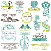 Wedding Vintage Invitation Collection - for design, scrapbook - — Stok Vektör