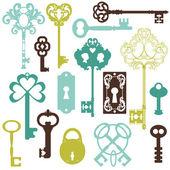 Zbiór zabytkowych klucze - projekt lub notatnik - w v — Wektor stockowy