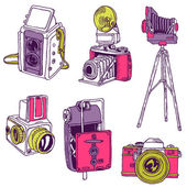 Set of Photo Cameras - hand-drawn doodles in vector — Stock Vector