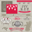 Scrapbook Design Elements - Vintage Merry Christmas and New Year — Stok Vektör #13313260