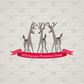 Retro Christmas Card - for invitation, congratulation in vector — Stock Vector