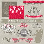 Elementos de design scrapbook - vintage feliz natal e ano novo — Vetorial Stock