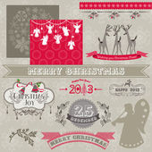 Scrapbook Design Elements - Vintage Merry Christmas and New Year — Stok Vektör