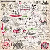 ベクトルセット:クリスマス書道デザイン要素とページデコ — ストックベクタ