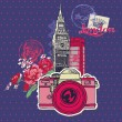 Scrapbook Design Elements - London Vintage Card with Camera and — ストックベクタ