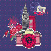 Scrapbook Design Elements - London Vintage Card with Camera and — Stock Vector