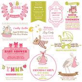 赤ちゃんの到着とシャワー コレクション - カードのデザイン、スクラップ ブック — ストックベクタ
