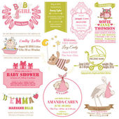 Baby Arrival and Shower Collection - for card design, scrapbook — Stock Vector