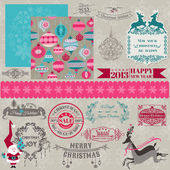 Scrapbook Design Elements - Vintage Merry Christmas and New Year — Stock Vector