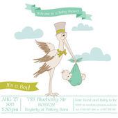 Baby Shower Card with Stork - with place for your text - in vect — Stock Vector