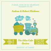 Baby Shower Card with Baby Train - with place for your text - in — Stock Vector