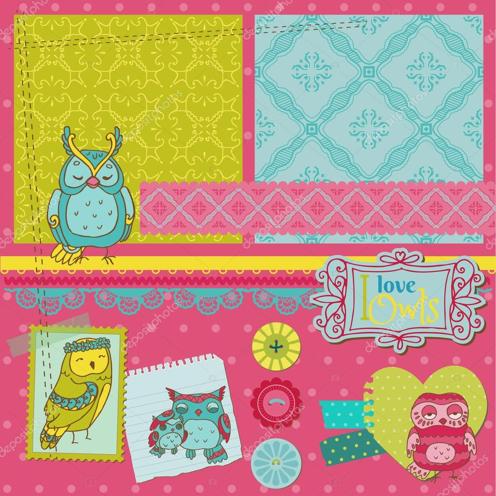 Scrapbook Design Elements - Little Owls Collection - hand drawn - in vector — Stock Vector #13461281