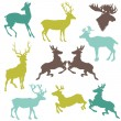 Set of Reindeer Christmas Silhouettes - for your design or scrap — Stock Vector #13876515