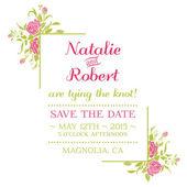 Wedding Invitation Card - Flower Theme - in vector — Stock Vector