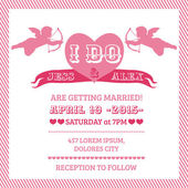 Cartão de convite casamento anjo - vetor — Vetorial Stock