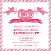 Düğün melek davetiye kartı - vektör — Stok Vektör