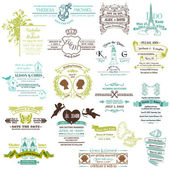 Wedding Vintage Invitation Collection - for design, scrapbook - — Vector de stock
