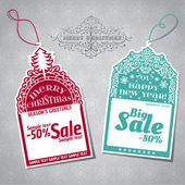 Christmas Sale Tags - for design and scrapbook - in vector — Stock Vector