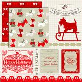 Scrapbook Design Elements - Vintage Christmas Dog - in vector — Stock Vector