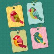 Scrapbook Design elements - Tags with Birds - for design, baby s — Stock Vector