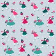 Christmas Background - Girls with presents - in vector — Stock Vector