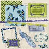 Scrapbook Design Elements - Vintage Peacock Feathers - in vector — Stock Vector