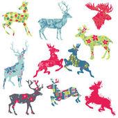 トナカイのクリスマス シルエット - デザインやスクラップのセット — ストックベクタ