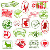 Christmas Stamp Collection - for design, scrapbook, invitation — Stock Vector