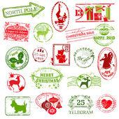 Christmas Stamp Collection - for design, scrapbook, invitation — Stok Vektör