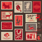 Christmas Postage Stamps - for design, scrapbook - in vector — Stok Vektör