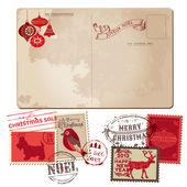 Vintage carte postale de noël et les timbres - pour la conception, invitation, — Vecteur