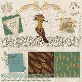 Scrapbook Design Elements - Vintage Bird Feathers - in vector — Stock Vector
