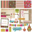 Retro Birthday Celebration Design Elements - for Scrapbook, Invi - Stok Vektör