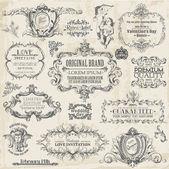 Vector set: elementi calligrafici e decorazione di pagina di disegno, vi — Vettoriale Stock