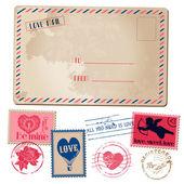 Vintage Love Valentine Postcard and Stamps - for design, invitat — Stock Vector
