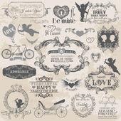 записки элементы дизайна - старинные валентина — Cтоковый вектор