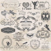 Scrapbook Design Elements - Vintage Valentine — 图库矢量图片