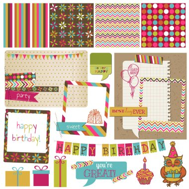 Retro Birthday Celebration Design Elements - for Scrapbook, Invi