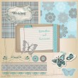 Scrapbook Design Elements - Vintage Lace Butterflies - in vector — Stock Vector