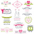 Stock Vector: Wedding Vintage Invitation Collection - for design, scrapbook -