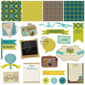 Scrapbook Design Elements - Vintage Travel Set- in vector — Stok Vektör
